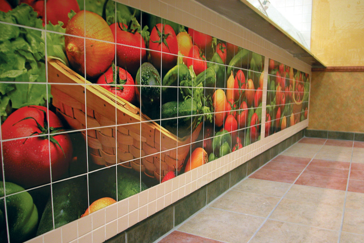 Colorful subway tile